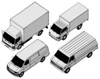 Vector delivery van set Royalty Free Stock Images