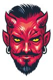Demon Head. Vector of Demon Head in hand drawing style Royalty Free Stock Photo