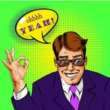 Vector den erfolgreichen Geschäftsmann der Pop-Art, der okayhandzeichen zeigt Lizenzfreie Stockfotografie