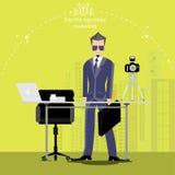 Vector den Geschäftsmann denkt die Arbeit zur weiten Welt mit Arbeitsplätzen und Vorderansicht des Papiers Stockbilder