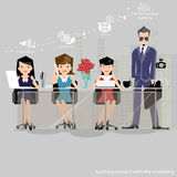 Vector den Geschäftsmann denkt die Arbeit zur weiten Welt mit Arbeitsplätzen und Vorderansicht des Papiers Stockfoto