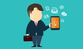 Vector den Geschäftsmann, der e-Geschäft auf Mobile verwendet Stockfotos