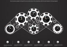 Vector den Geschäftsmann, der kreative Ideen mit flachem Design der Birnengehirn-Zähne gedanklich löst Stockbild