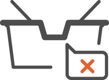 Vector den IkonenEinkaufskorb, der für Online-Shop aktuell ist, stock abbildung
