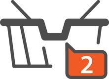 Vector den IkonenEinkaufskorb, der für Online-Shop aktuell ist, vektor abbildung