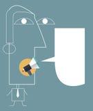 Vector den Illustrationzeichnungs-Geschäftsmann, der durch Megaphon mit Spracheblase spricht Stockfotografie