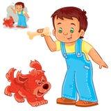 Vector den kleinen Jungen, der einen Knochen in seiner Hand hält und mit seinem Welpen spielt Lizenzfreie Stockfotos