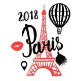 Vector den Luft-Ballon und roten Eiffelturm Paris, die auf weißem Hintergrund lokalisiert werden Stock Abbildung
