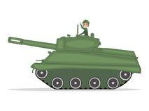 Vector den Manntanker, der auf einen grünen Behälter reist stock abbildung