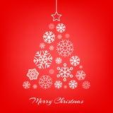 Vector den Weihnachtsbaum, der von den Schneeflocken auf Rot gemacht wird Stockfotos