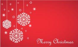 Vector den Weihnachtshintergrund und hängen Schneeflocken auf Rot lizenzfreie abbildung
