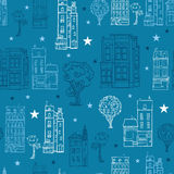 Vector Denim Blue Town Houses Trees Streets Drawing Seamless Pattern with Stars. Perfect for travel themed designs Royalty Free Stock Photos
