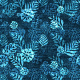 Vector denim exotic leaf seamless pattern. Faded jeans background with tropical plants. Blue jeans cloth background Royalty Free Stock Photos