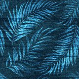 Vector denim exotic palm leaf seamless pattern. Faded jeans background with tropical plants. Blue jeans cloth background.  Stock Photography