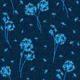 Vector denim floral seamless pattern. Faded jeans background with dandelion flowers. Blue jeans cloth background Royalty Free Stock Photography