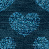 Vector denim romantic seamless pattern. Faded jeans background with zentangle hearts. Blue jeans cloth background Royalty Free Stock Images