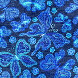 Vector Denim seamless pattern. Jeans background with Butterflies. Blue jeans cloth background Stock Photo