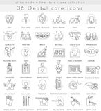 Vector Dental care ultra modern outline line icons for web and apps. Royalty Free Stock Photos