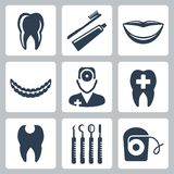 Vector dental icons set Royalty Free Stock Image