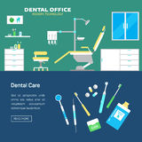 Vector dental office with seat and equipment tools Stock Photography