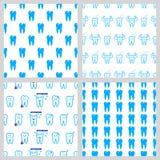 Vector dental seamless pattern. White teeth on blue background stock illustration