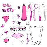 Vector dentist`s tools isolated on a white background in doodle style. stock illustration