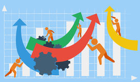 Vector depicting business or industrial growth in the context of team work. In the background of a bar chart Royalty Free Stock Image