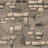 Vector der nahtlosen alte Sprungsbacksteinmauer Musterbeschaffenheit der Karikatur vektor abbildung