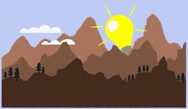 Vector a descrição da descoberta de uma ideia ou de uma solução nova como uma elevação do sol Foto de Stock Royalty Free
