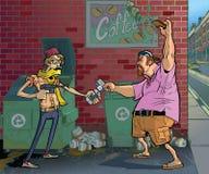 Vector desenhos animados de um moderno que rouba um frat do envelhecimento  Imagens de Stock