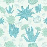 Vector Desert Cacti Seamless Pattern Stock Image