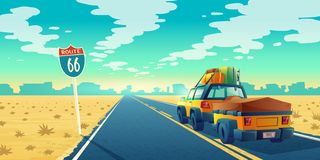 Vector tourist concept - desert with jeep, trailer. Vector desert landscape with jeep on asphalt way to canyon, wasteland. Route 66 with transport, baggage on stock illustration