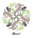 Vector Desert mood Engraved fractal outlet composition. Stock Image