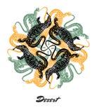 Vector Desert mood Engraved fractal outlet composition. Stock Photography