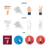 Isolated object of animated and thumb symbol. Set of animated and gesture stock symbol for web. Vector design of animated and thumb sign. Collection of animated vector illustration