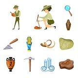 Vector design of archaeology  and historical sign. Set of archaeology  and excavation stock vector illustration. Vector illustration of archaeology  and vector illustration