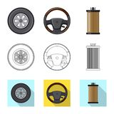 Isolated object of auto and part icon. Collection of auto and car stock vector illustration. Vector design of auto and part symbol. Set of auto and car vector royalty free illustration
