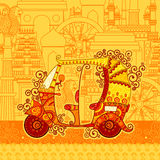Vector design of auto rickshaw on famous monument backdrop. In Indian art style royalty free illustration
