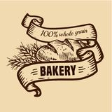 Bread logo with ribbons. Vector design for bakery or baking shop  emblem with hand drawn bread and ribbons illustration. Bakery and bread logo  for bakery shop Royalty Free Stock Photography