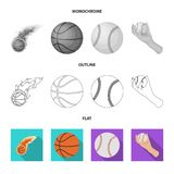 Vector design of ball and soccer sign. Collection of ball and basketball vector icon for stock. Vector illustration of ball and soccer logo. Set of ball and vector illustration