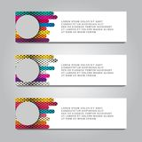 Vector design Banner backgrounds in three different colors.  royalty free illustration