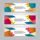 Vector design Banner backgrounds in three different colors.  stock illustration