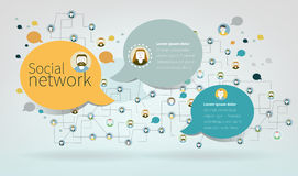 Vector design Banner. Social Network Vector Concept. Flat Design Royalty Free Stock Images
