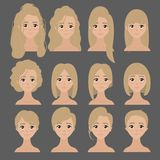 Beautiful collection of female hairdo haircut. Vector design of beautiful collection of female haircuts. Hairdo. Set of woman hair styling royalty free illustration