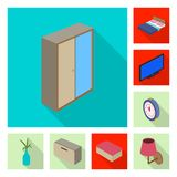 Isolated object of bedroom and room icon. Collection of bedroom and furniture vector icon for stock. vector illustration
