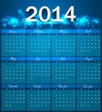 Vector design blue colorful Calendar 2014 template. Illustration Stock Photo