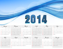 Vector design blue colorful wave Calendar 2014 Stock Image