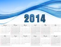 Vector design blue colorful wave Calendar 2014. Template illustration design Stock Image