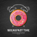 Vector design for breakfast menu, cafe, bakery. Donut and hand drawn alarm clock onblack board background. Tasty pink glazed donut, letters and hand drawn vector illustration