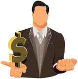 Vector design of businessman in suit with dollar Royalty Free Stock Image
